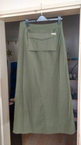 Stylisher langer Rock von Mango, einmal getragen, schilfgrün, mit Tasche, Gr. 38!