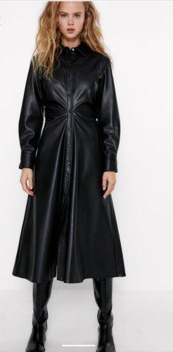 Stylishes Fit & Flare Midi Lederkleid Leder Kleid Mantelkleid S
