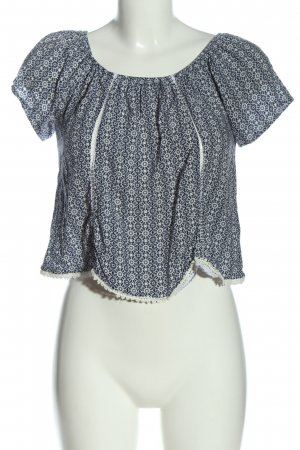 Subdued Carmen Blouse black-white allover print casual look