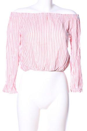 Subdued Carmen-Bluse pink-weiß Allover-Druck klassischer Stil