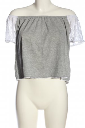 Subdued Camicetta alla carmen grigio chiaro-bianco puntinato stile casual