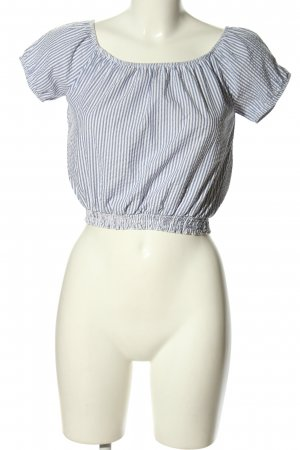 Subdued Cropped Shirt hellgrau-weiß Streifenmuster Casual-Look