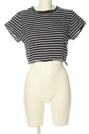 Subdued Cropped Shirt schwarz-weiß Streifenmuster Casual-Look