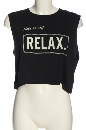 Subdued Cropped top zwart-wit gedrukte letters casual uitstraling