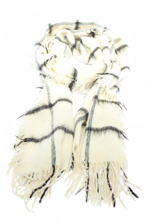 Subdued Sjaal met franjes wolwit-zwart volledige print casual uitstraling