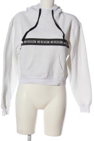 Subdued Felpa con cappuccio bianco-nero Stampa a tema stile casual