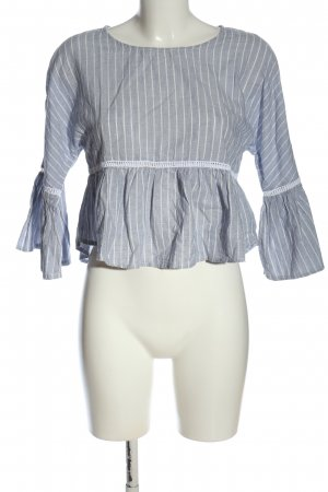 Subdued Long Sleeve Blouse blue-white striped pattern casual look