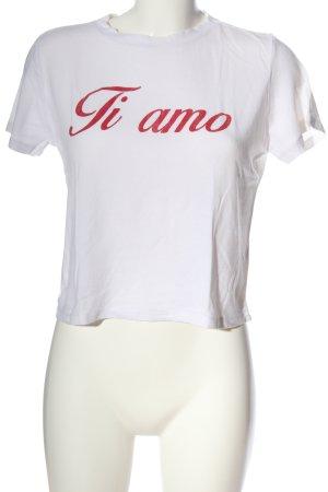 Subdued T-Shirt weiß-rot Schriftzug gedruckt Casual-Look