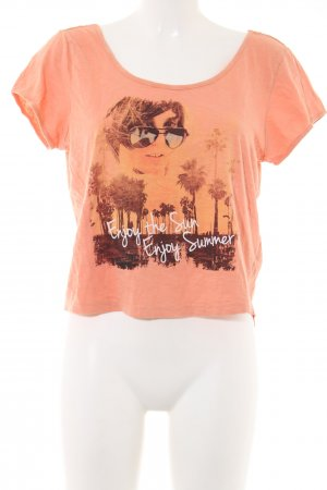 Sublevel Cropped shirt licht Oranje prints met een thema casual uitstraling