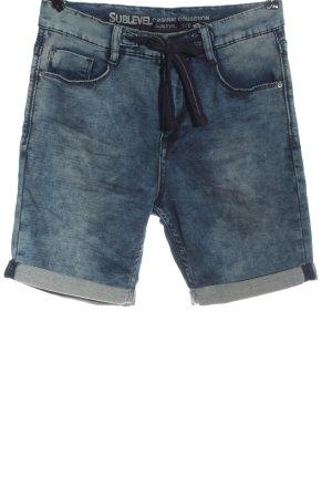 Sublevel Pantalón corto de talle alto azul-negro look casual