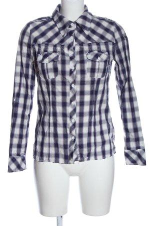 Sublevel Camicia da boscaiolo bianco-nero motivo a quadri stile professionale