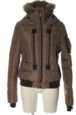 Sublevel Veste à capuche bronze-brun motif de courtepointe style décontracté