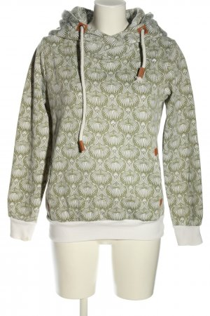 Sublevel Kapuzenpullover khaki-weiß abstraktes Muster Casual-Look