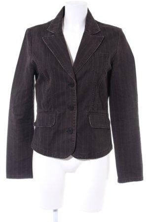 Sublevel Korte blazer grijs-bruin gestreept patroon casual uitstraling
