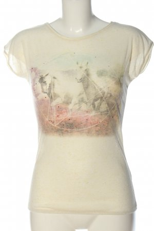 Sublevel T-Shirt cream themed print casual look