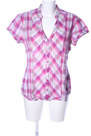 Sublevel Kurzarm-Bluse weiß-pink Allover-Druck Business-Look