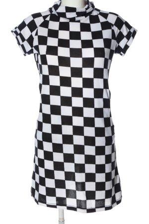 Sublevel Robe à manches courtes blanc-noir motif à carreaux