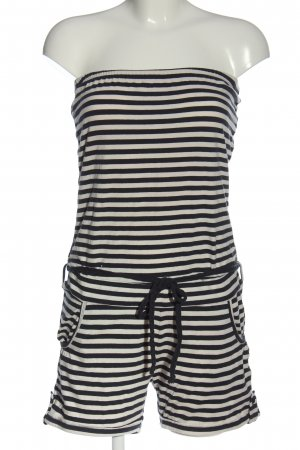 Sublevel Kurzer Jumpsuit natural white-black striped pattern casual look