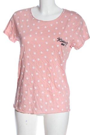 Sublevel T-shirt imprimé rose-blanc motif graphique style décontracté