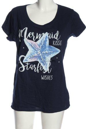 Sublevel T-shirt imprimé bleu imprimé avec thème style décontracté
