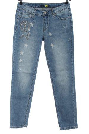Sublevel Jeans a sigaretta blu Stampa a tema stile casual