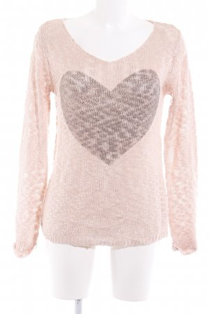 Sublevel Strickpullover rosa-grau Herzmuster Casual-Look
