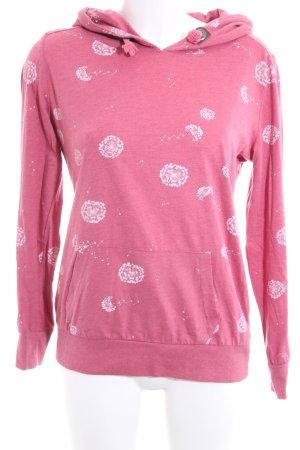 Sublevel Sweatshirt pink-weiß Allover-Druck Casual-Look