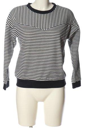 Sublevel Sweatshirt schwarz-weiß Streifenmuster Casual-Look