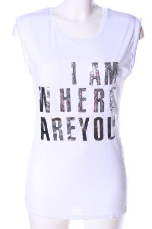Sublevel T-Shirt weiß Schriftzug gedruckt Casual-Look