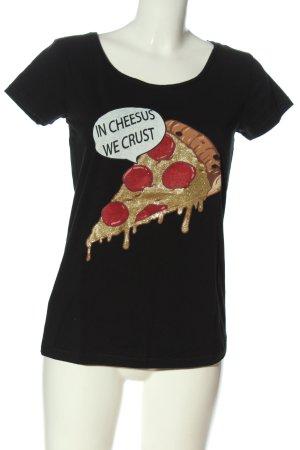 Sublevel T-shirt noir imprimé avec thème style décontracté