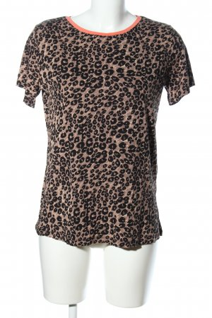 Sublevel T-Shirt braun-schwarz Animalmuster Casual-Look