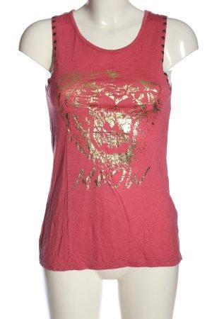 Sublevel Top met spaghettibandjes roze-goud prints met een thema