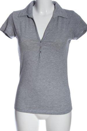 Sublevel V-Ausschnitt-Shirt hellgrau meliert Casual-Look