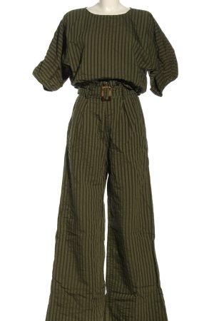 suboo Web twin set khaki-bruin gestreept patroon casual uitstraling