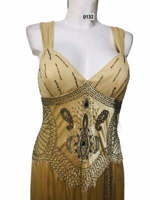 Sue Wong Edles Abendkleid bestickt 100% Seide Gold L / XL Neu regulär 396, -