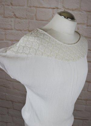 Süß Krepp Tunika Spitzenbluse Promod Größe M 38 Creme Weiß Romantisch Blusentop Top Bluse Hemd Shirt