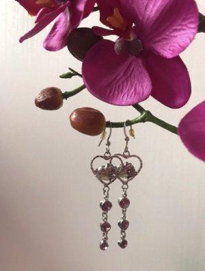 Bijou Brigitte Pendientes colgante color plata-rosa metal
