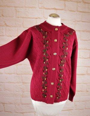 Süß Trachten Cardigan Größe 40 42 Kirschrot Rot Stickerei Zopfmuster Strickjacke Pullover Jacke Dirndl Rockabilly