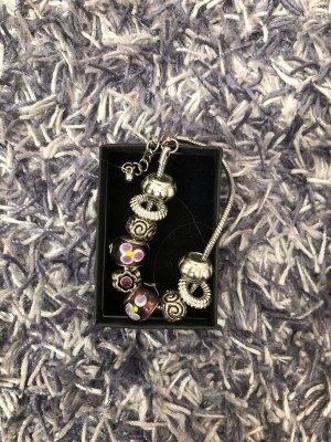 Bracelet en perles argenté