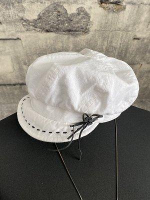 Sun Hat white-dark blue cotton
