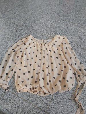 Amisu Jedwabna bluzka taupe-kremowy