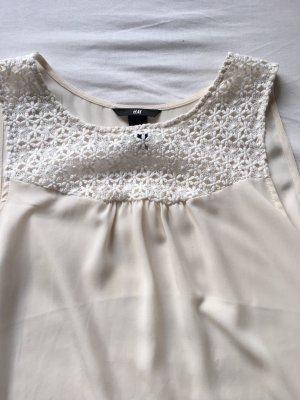 H&M Koronkowa bluzka kremowy