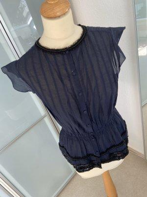 Süße Bluse blau/schwarz - Gr. 36