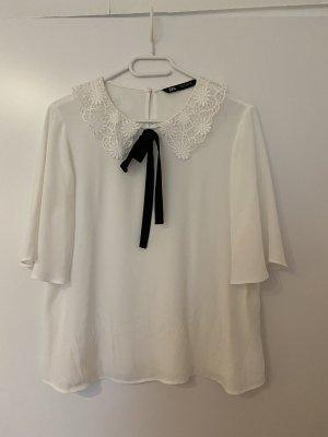 Zara Blusa con lazo blanco-negro