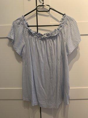 C&A Clockhouse Bluzka typu carmen biały-jasnoniebieski