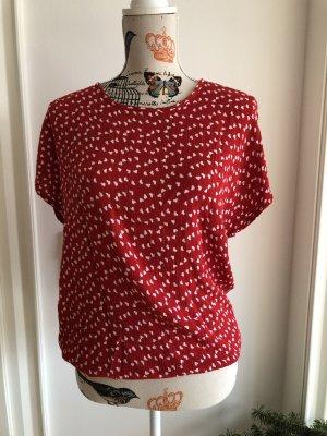 Kaffe Blusa de manga corta rojo ladrillo-blanco