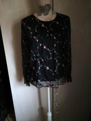 Süsse Bluse Reserved schwarz Blumen Stickerei S 36