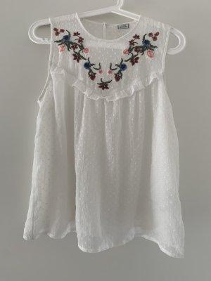 Süße Bluse Top mit Blumenstickerei