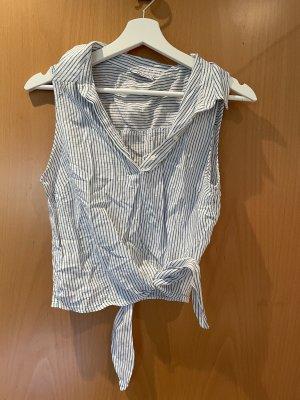 Bershka Wikkelblouse wit-korenblauw