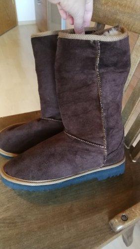 Futrzane buty brązowy-w kolorze białej wełny